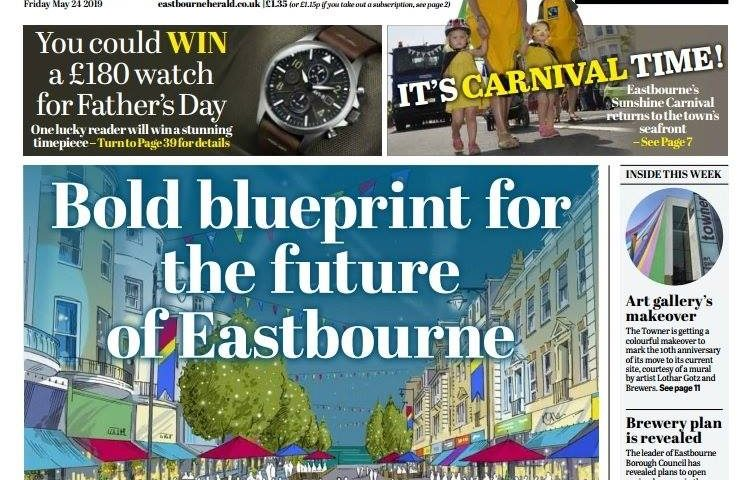 Front Page of the Eastbourne Herald